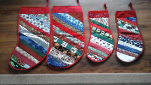Homemade Christmas Patchwork Stockings.