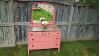 Beautiful coral vintage dresser with amazing swivel mirror!