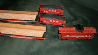 H O train - engine, , caboose, other trains, some track +