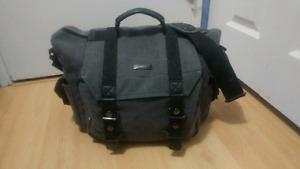 Grey canvas DSLR camera shoulder bag