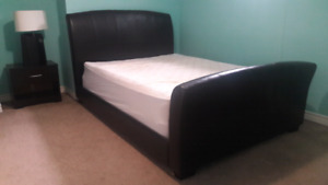 Leather queen bed set