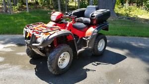 2009 Honda Rubicon 500 with plow and trailer