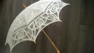 Antiqued Battenburg Lace Parasol - Wedding Gifts/PropDecorations