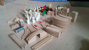 VINTAGE BRIO WOODEN TRAIN TRACKS/CARS AND ACCESSORIES.