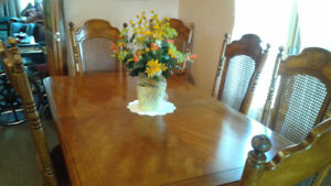 dining table &chairs with hutch& china cab.