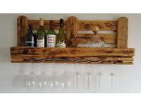 Hand made rustic reclaimed wood wine rack - antique pine