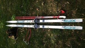 Karhu telemark skis with boots and poles