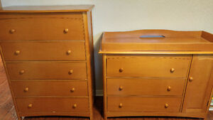 Storkcraft Dressers - 5 drawer & 3 drawer with side cabinet