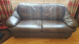 2 brown leather sofa's