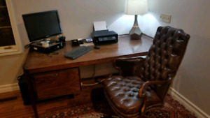 Antique wood desk and leather chair