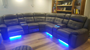 6 Seat power recliner home theater sectional