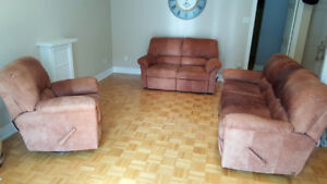 Leather Sofa, Loveseat and Armchair with recliners