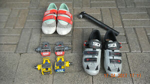 Cycling shoes, pedals and seat post.
