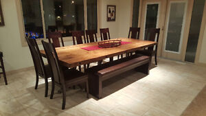 "10' Butcher Block Dining Table, Solid 3"" spruce top, steel base"