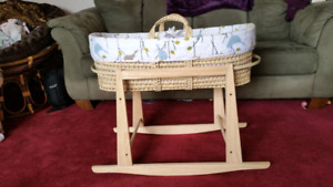 Moses basket/ stand with matching pillow