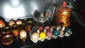 Russian Collectibles EGGS Wooden Jars Cups