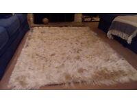 White shag pile rug