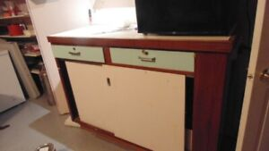 STORAGE CABINET COUNTER TOP TABLE WITH 2 SLIDING DOORS