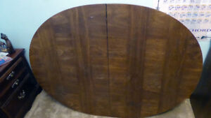 "Dining table, pecky pecan oval 42""x58"" + 2 leaves $150"