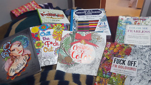 8 adult colouring books