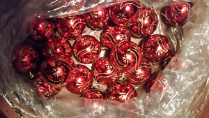 37 Red with Gold Design Shatterproof Ornaments