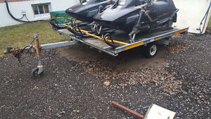 Open tilt and load snowmobile trailer