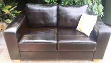 Leather Two Seater Lounge Couch Sofa Dark Brown Coogee Eastern Suburbs Preview