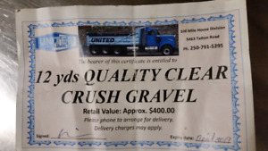 12 yards of clear crush gravel