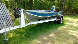 14' tinner with trailer and motor