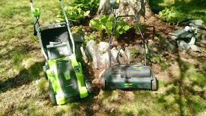 Yardworks Electric Mower & Dethatcher