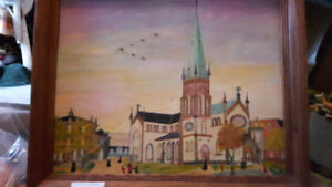 1958 Original Painting of Saint John Cathedral * Beautiful *