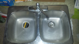 Double Stainless Steel sink and Moen tap