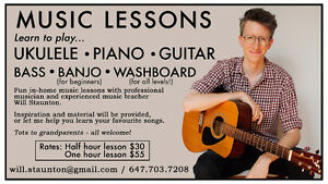 Ukulele, piano, guitar - learn from a pro in your own home!