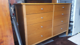 Large wooden chest drawers NW101HR L 123cm W 46cm H 84cm P
