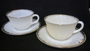 Fire King Ivory Swirl Golden Anniversary Teacups and Saucer (2)
