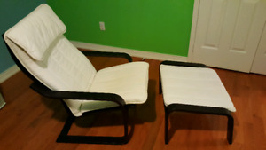 Ikea Poang Chair with Foot Stool