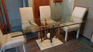 Glass Top Dining Table w/ 6 Upholstered Chairs
