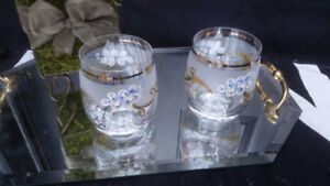 Vintage Bohemian Moser Old Fashion Whiskey Glasses