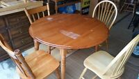 round dining table and 4 mismatch chairs delivery included