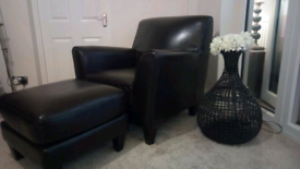 Faux Brown Leather Arm Chair and Stool