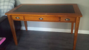 WOOD OFFICE DESK with leather