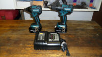 "MAKITA LXT 18v ""BRUSHLESS"" 1/2"" HAMMER DRILL & IMPACT DRIVER KIT"