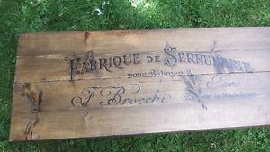 Table/banc de salon fait de vieux bois 2x10 et pattes en tuyaux West Island Greater Montréal image 4
