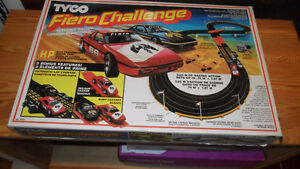 SLOT CAR RACING SET -- TYCO -- 2 CARS, 2 CONTROLS, RAMPS ETC