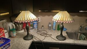 Beautiful Set Of Stained Glass Matching Pair Tiffany Style Lamps