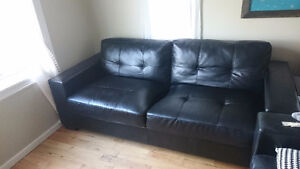 IKEA Faux Leather 3 seater Couch- Black