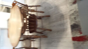 10 photos! used wood dinner table with 4 wooden chairs retro
