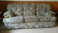 Beautiful Comfortable Couch Wood Accent Great Condition