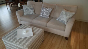 Living room couch, ottoman and two recliners