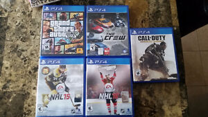 PS4 Games GTA5, NFS The Crew, Call of Duty, NHL15-16
